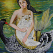 Mermaid And Swan Art Print