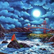 Mermaid At The Golden Gate Bridge  Art Print
