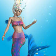 Mermaid In Aqua Art Print