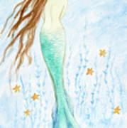Mermaid In Her Garden Art Print