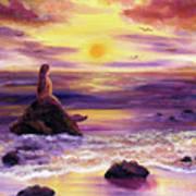 Mermaid In Purple Sunset Art Print