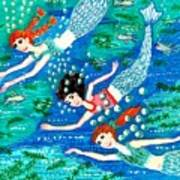 Mermaid Race Art Print by Sushila Burgess
