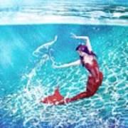 Mermaid Red Art Print