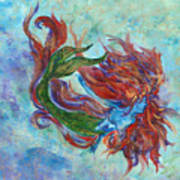 Mermaid Swimming Art Print