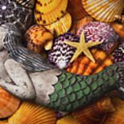 Mermaid With Starfish Art Print