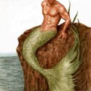 Merman On The Rocks Art Print