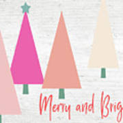 Merry And Bright Trees- Art By Linda Woods Art Print