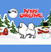 Merry Christmas American Eskimo Dog  Art Print