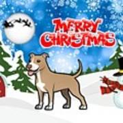 Merry Christmas American Pitbull Terrier  Art Print