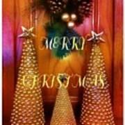 Merry Christmas Trees Colorful Art Print