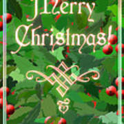 Merry Christmas With Holly Art Print