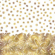 Metallic Gold Floral Flower Swirls Trendy Unique Art By Madart Art Print