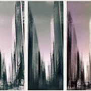 Metropolis Rush Hour Triptych Art Print
