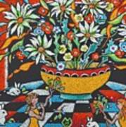 Mexican Vase With Spring Flowers Art Print