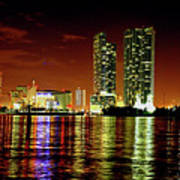 Miami At Night -1 Art Print