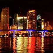 Miami At Night -2 Art Print