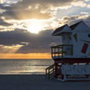 Miami Beach Life Guard House Sunrise 2 Art Print