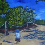 Miami Beach Path And Child Art Print