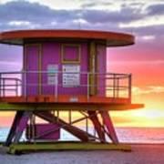 Miami Beach Round Life Guard House Sunrise Art Print