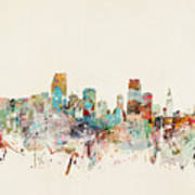 Miami Florida City Skyline Art Print
