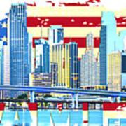 Miami Florida City Skyline Art Print