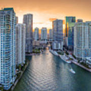 Miami River Fron The Drone Art Print