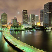 Miami Skyline At Night Art Print by Steve Whiston - Fallen Log Photography