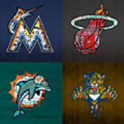 Miami Sports Fan Recycled Vintage Florida License Plate Art Marlins Heat Dolphins Panthers Art Print