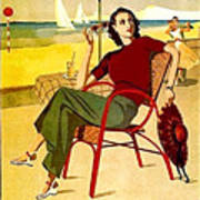 Miami, Woman On The Beach Under Sunshade Art Print