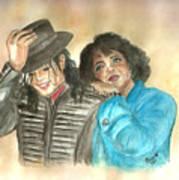 Michael Jackson And Oprah Art Print by Nicole Wang