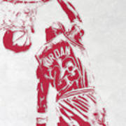 Michael Jordan Chicago Bulls Pixel Art 1 Art Print
