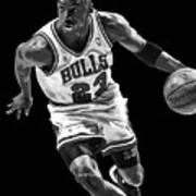 Michael Jordan Drives To The Basket Art Print