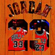 Michael Jordan Wood Art 1b Art Print