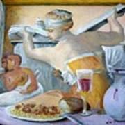Michaelangelo's Lybian Sybil With Dinner Art Print