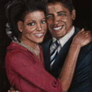 Michelle And Barack Print by Diane Bombshelter
