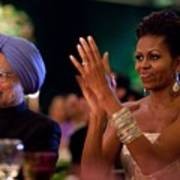 Michelle Obama Applauds Art Print by Everett