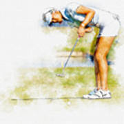 Michelle Wie Of Usa Putting At The  Lpga Lotte Championship  Art Print