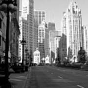 Michigan Ave Tall B-w Art Print