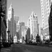 Michigan Ave Wide B-w Art Print