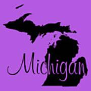 Michigan In Black Art Print