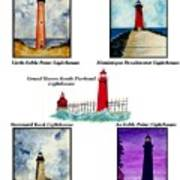 Michigan Lighthouses Montage Art Print