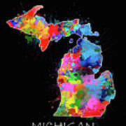 Michigan Map Color Splatter 2 Art Print