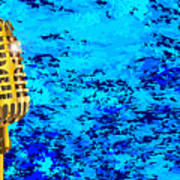 Microphone On Blues Fire Art Print