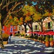 Mid-day Shade In The Village Art Print