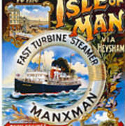 Midland Railway, Steam Boat, Isle Of Man, Poster Art Print