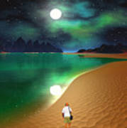 Midnight Beach Walk - Sea Of Cortezz Art Print