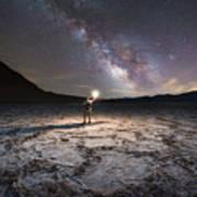 Midnight Explorer At Badwater Basin  Art Print