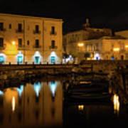 Midnight Silence And Solitude - Syracuse Sicily Illuminated Waterfront Art Print