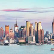 Midtown Manhattan Skyline At Sunset, New York City, Usa Art Print