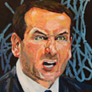 Mike Krzyzewski Aka Coach K Portrait Art Print